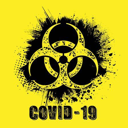 Grunge circle covid hazard set 向量圖像