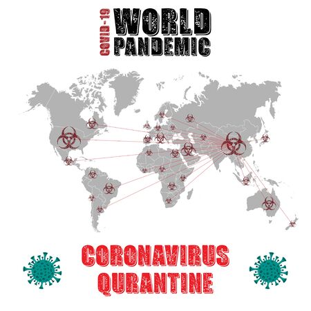 World map coronavirus quarantine background 版權商用圖片 - 143092162
