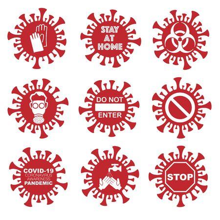 Coronavirus signs set Иллюстрация