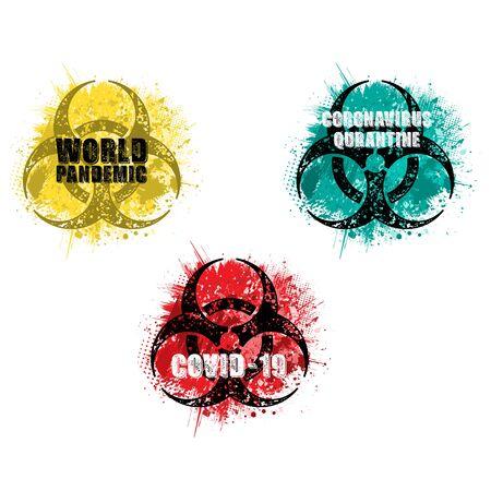 Grunge circle virus hazard set 版權商用圖片 - 143092172