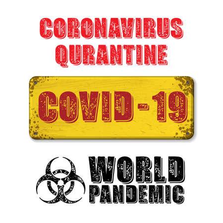 Yellow quarantine nameplate and text Фото со стока