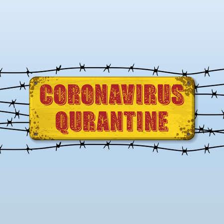 Yellow quarantine nameplate 版權商用圖片 - 154987078