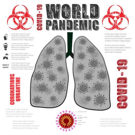 Lungs with bacterium coronavirus pandemic 版權商用圖片 - 154987089