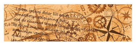 Grunge brown steampunk banner one Фото со стока