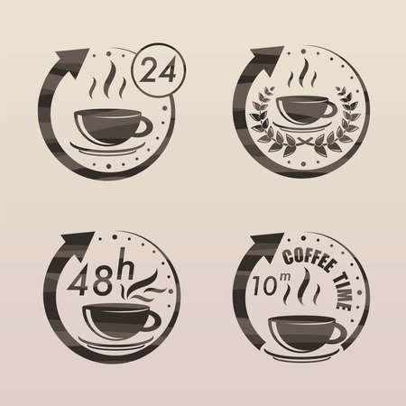 Black tea time symbols set