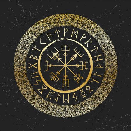 Dark runic golden symbols wallpaper