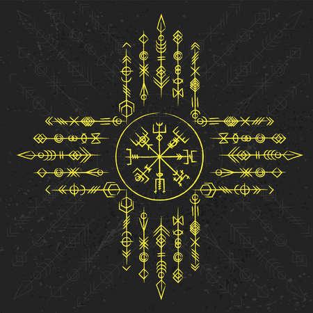 Dark runic yellow symbols dreamer set