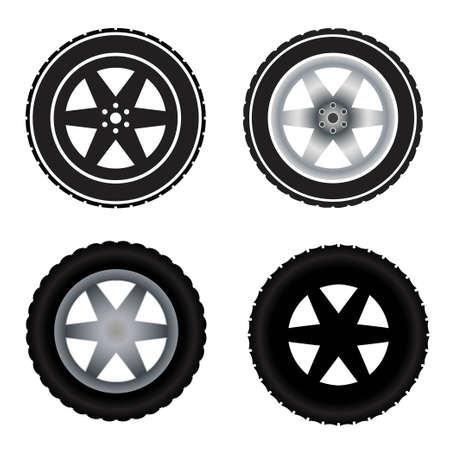 Car wheels different colors Vektorgrafik