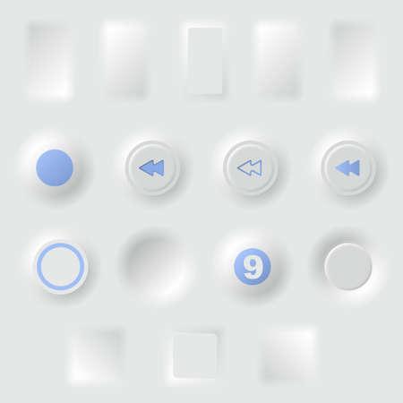 White buttons different forms Illusztráció