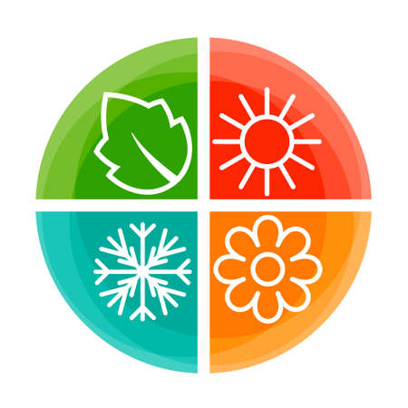 Four nature seasons color circle