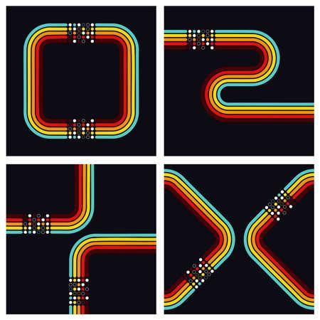 Retro square dots background set