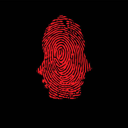 Fingerprint ID woman and man two silhouettes