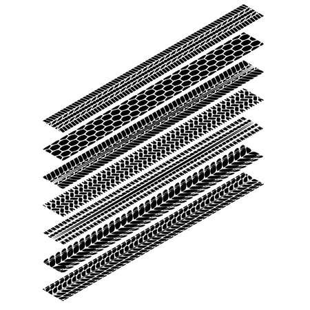 Tire tracks isometric simplify silhouettes set