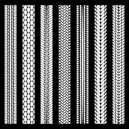 Tire tracks simplify silhouettes set Vettoriali