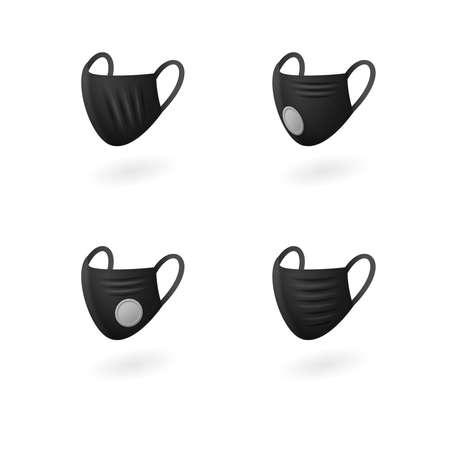 Breathing black medical respiratory masks set side view Vettoriali
