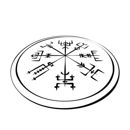 Abstract runic symbols circle in perspective Ilustracja