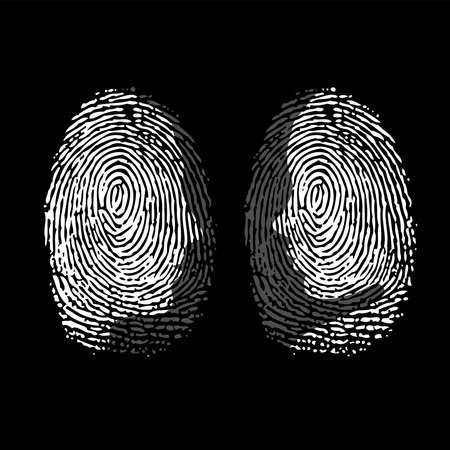 Fingerprint ID woman and man black silhouettes Vettoriali
