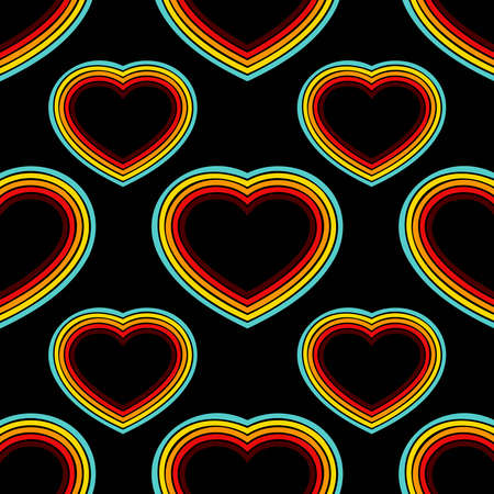 Retro hearts lines seamless background