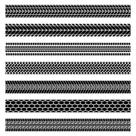 Tire tracks silhouettes set Vettoriali