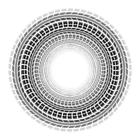 Circle tire tracks white background Vettoriali
