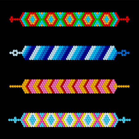 Friendship beaded bracelets Vettoriali