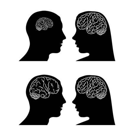 Brain in head man and woman Vettoriali