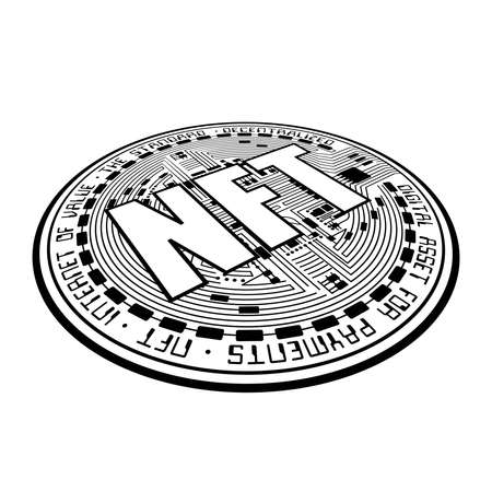 Cryptocurrency coin NFT outline perspective