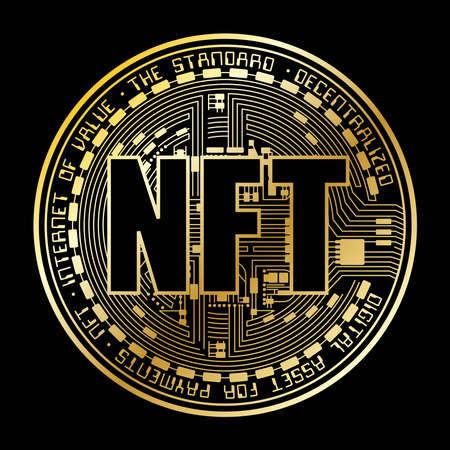 NFT coin gold silhouette