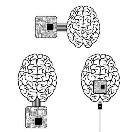 Brain microscheme chip charging background Vettoriali