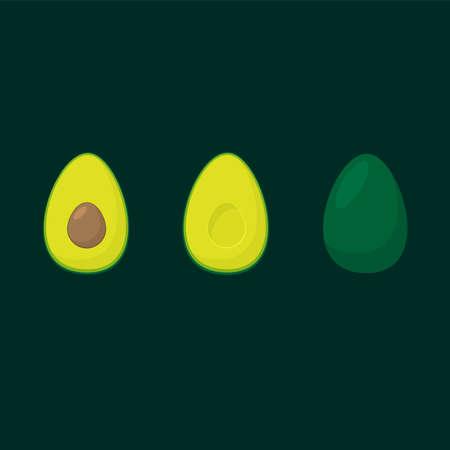 Avocado three colour flat silhouettes Vettoriali