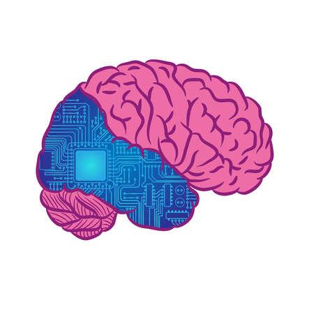 Kiborg brain abstract design Vettoriali