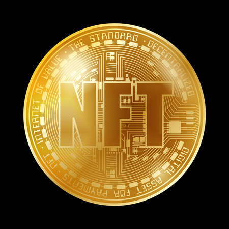 NFT coin gold background