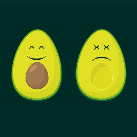 Avocado two smile colour flat silhouettes