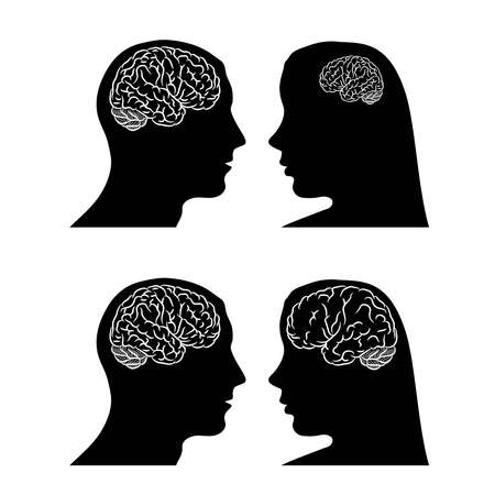 Brain in head woman and man