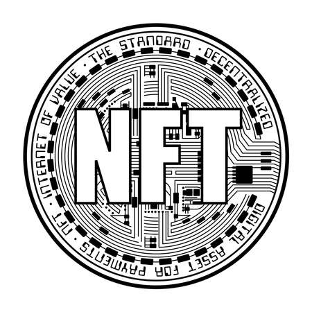 Cryptocurrency coin NFT outline