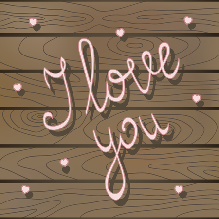 Pink small hearts on a wooden background with handwritten text I love you. Vector wedding decoration concept. Illustration