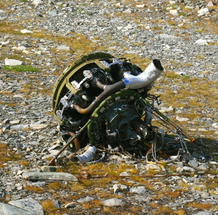 wreckage: Helicopter Engine Wreckage Stock Photo
