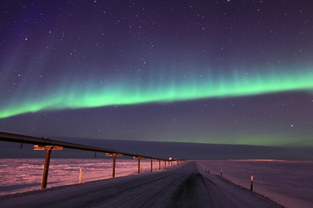 Northern Lights Over Oil Pipeline photo