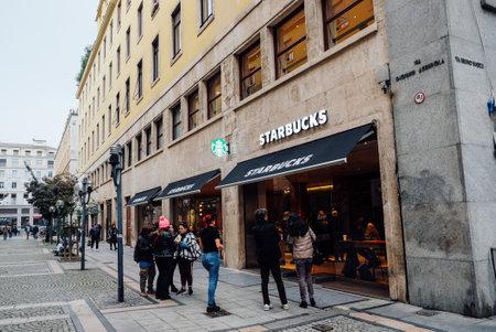 Turin, Italy, November 2, 2019. Starbucks coffeehouse location in Turin.