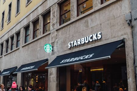 Starbucks cafe signboard in Turin, Piedmont, Italy.