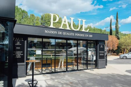 The entrance to Paul bakery. Paul is a French chain of bakery and cafe restaurants. Salon de Provence, France - September 25, 2019. Editorial