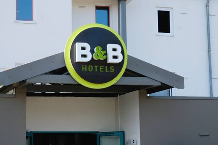 Aix-en-Provence, France - September 19, 2019: the entrance to B and B bed and breakfast hotel.