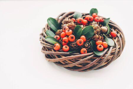 Beautiful eco friendly Christmas wreath on white