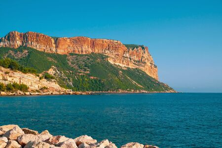 Seaview from the beach of Cassis in Southern France. Beautiful summer seascape.