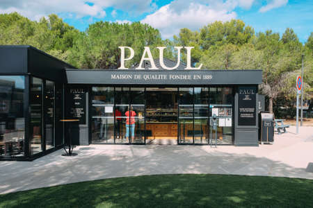 The entrance to Paul bakery. Paul is a French chain of bakery and cafe restaurants. Salon de Provence, France - September 25, 2019. 에디토리얼