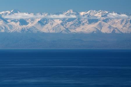 Beautiful Issyk-Kul lake in the Kyrgyzstan under cloud