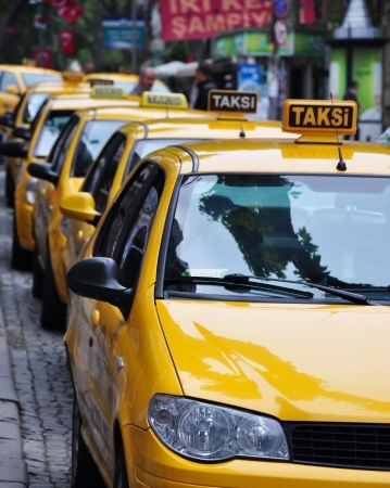 Yellow taxi stand in Istambul