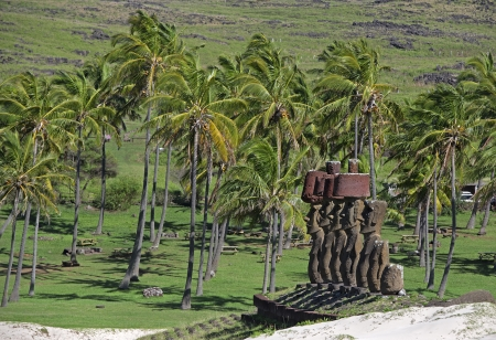 Moai of Easer Island stand on the exotic sandy Anakena Beach  photo