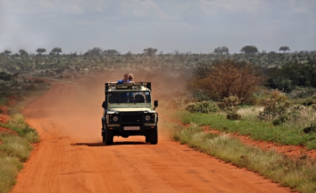 Jeep safari is a popular activity in Tsavo national park, Kenya Editorial