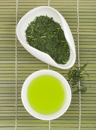 Set of green tea for tea ceremony  Stock Photo